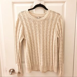 J.Crew Cable Knit Sweater Oatmeal Size Medium